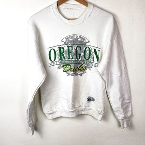 VINTAGE UNIVERSITY OREGON DUCKS White Sweatshirt